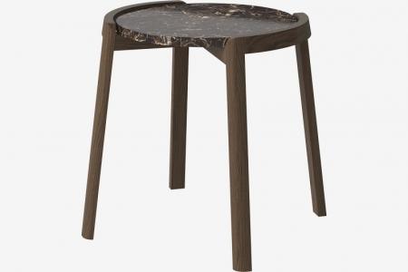 Designerski stolik kawowy drewno i marmur Mix 3 Bolia