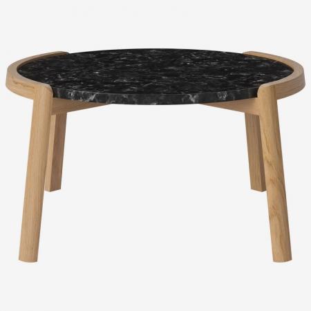 Designerski stolik kawowy drewno i marmur Mix Bolia