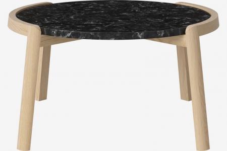 Designerski stolik kawowy drewno i marmur Mix 5 Bolia