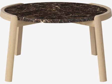 Designerski stolik kawowy drewno i marmur Mix 7 Bolia