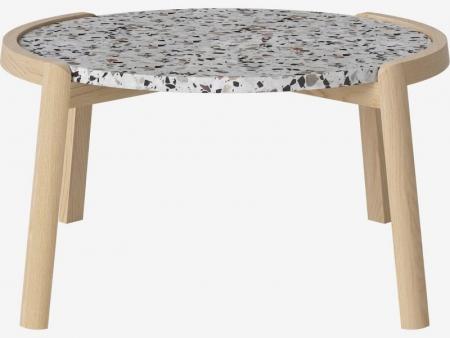 Designerski stolik kawowy drewno i marmur Mix 9 Bolia