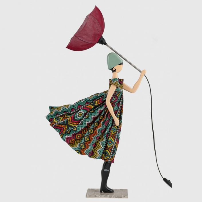 Kolorowa lampka stołowa kobieta we wzorzystej sukience Somaya