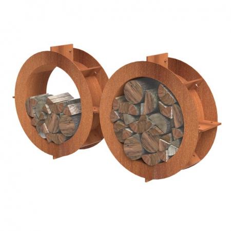 Okrągły schowek na drewno ogrodowy Koła.jpg