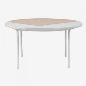Okrągły stolik kawowy z drewna i marmuru Symbiosis Bolia