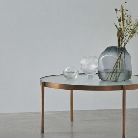 Okrągły stolik kawowy ze szkła i metalu Tab okrągły 1 Bolia