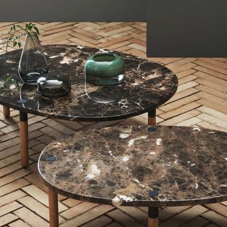 Owalny stolik kawowy z marmurowym blatem Tuk 1 Bolia