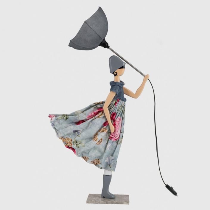 Ozdobna lampa dziewczyna w sukience w kwiaty Evdoxia