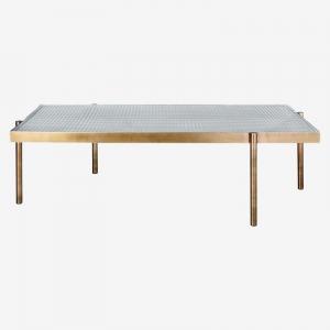 Prostokątny stolik kawowy ze szkła i metalu Tab Bolia