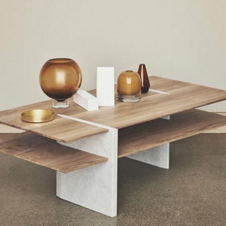 Stolik kawowy z drewna i marmuru Matita 1 Bolia