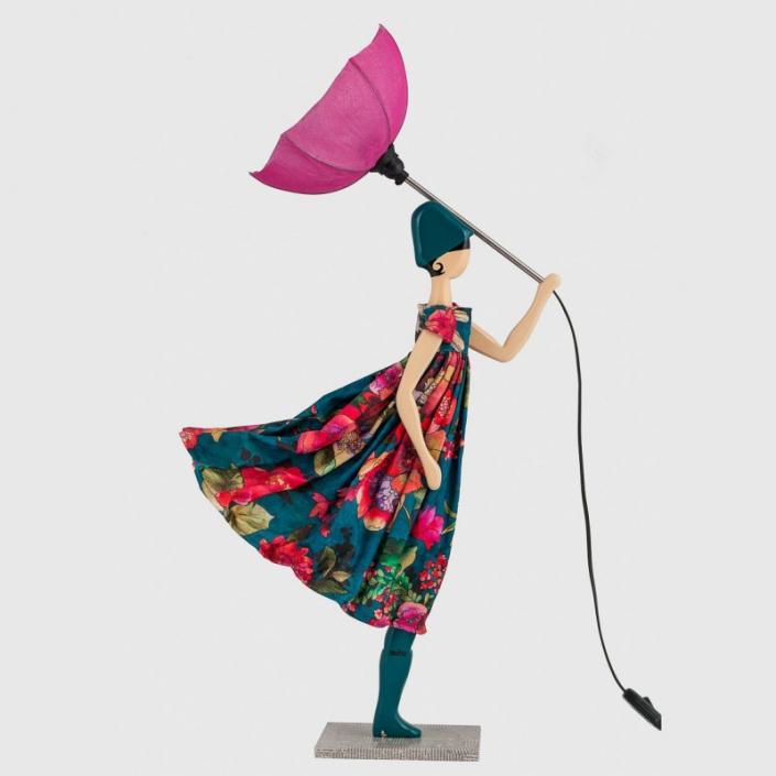 Wielobarwna lampka kobieta w kwiecistej sukience Lucy