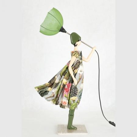 Zielona lampa kobieta stołowa AGATHA