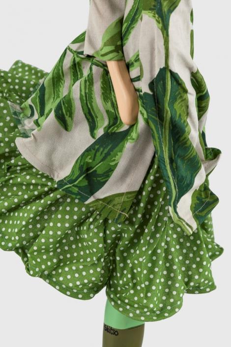 Zielona lampa stołowa kobieta w sukience Flery