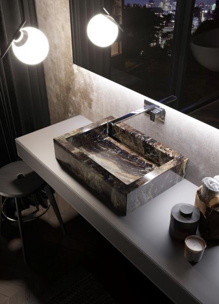 Ceramiczna umywalka łazienkowa imitująca marmur Keramik Qin