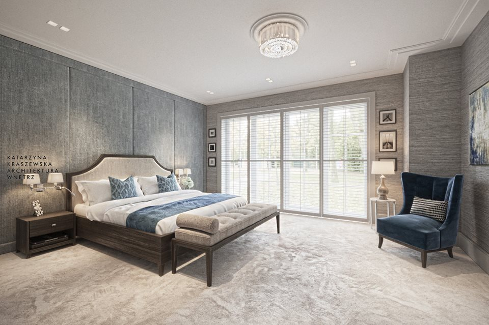 Eleganckie wnętrza według Katarzyny Kraszewskiej Projekt sypialni