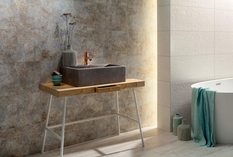 Urządź łazienkę w stylu wabi-sabi Tubądzin Interval