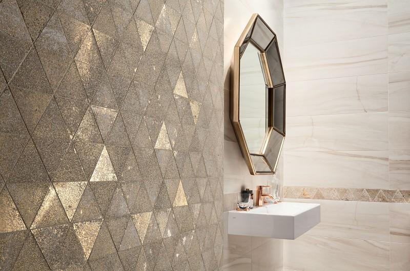 Urządź łazienkę w stylu wabi-sabi Tubądzin Sheen Gold