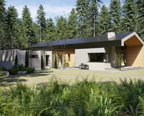 Nowoczesny dom parterowy w leśnym otoczeniu