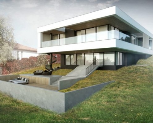 Przeszklony dom na skarpie 2