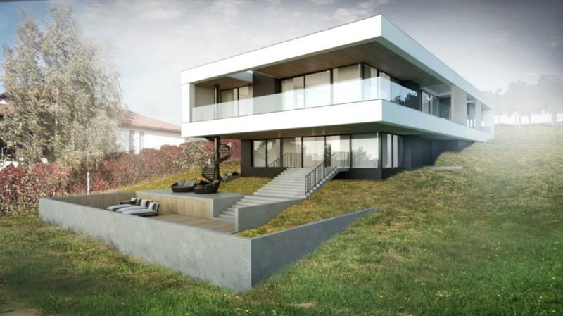 Przeszklony dom na skarpie