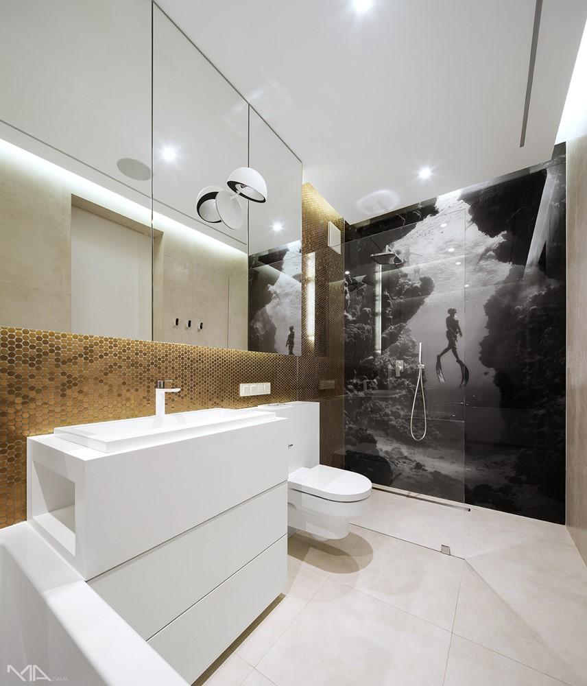Złoto i biel w łazience