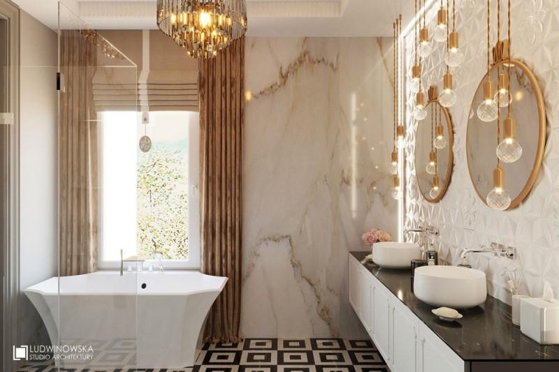 Złoto w łazience Art-deco
