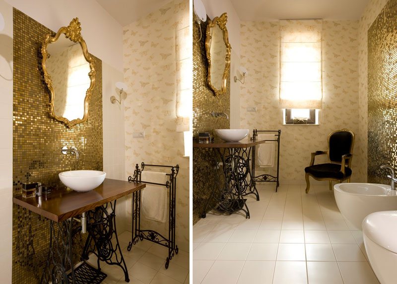 Złoto w łazience stylu francuskim