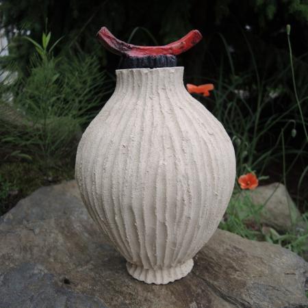 Dekoracyjna urna orientalna z cermiki rękodzieło