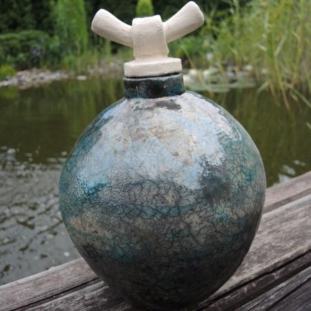 Orientalna urna ceramiczna Raku rękodzieło
