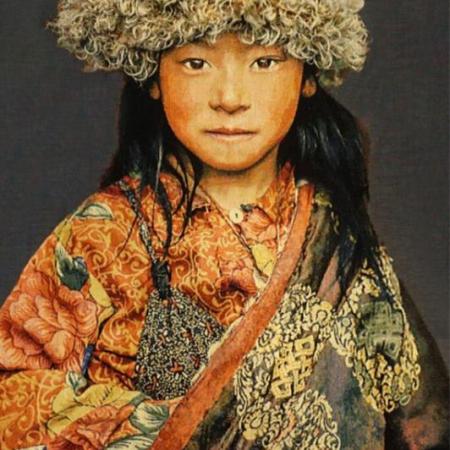 Gobelin Tibetan Child blaugrau Thomas Albrecht