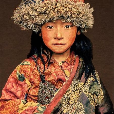 Gobelin Tibetan Child taupe Thomas Albrecht