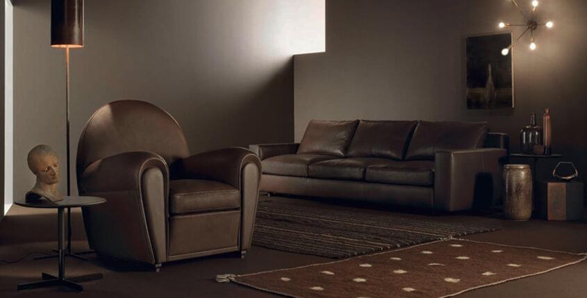 Klasyczny skorzany fotel w stylu retro Poltrona Frau
