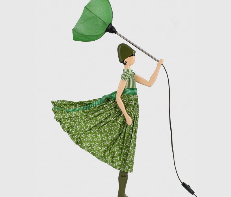 Designerska lampa stolowa kobieta w zieleni Aloe