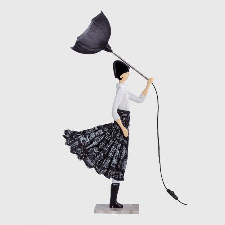 Lampka dziewczynka czarno-biała
