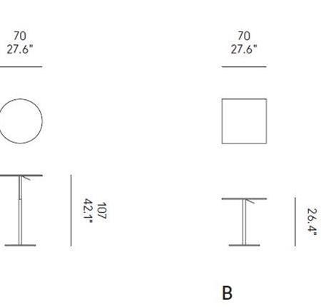 Minimalistyczny stolik T2 Bistrot Rotondo