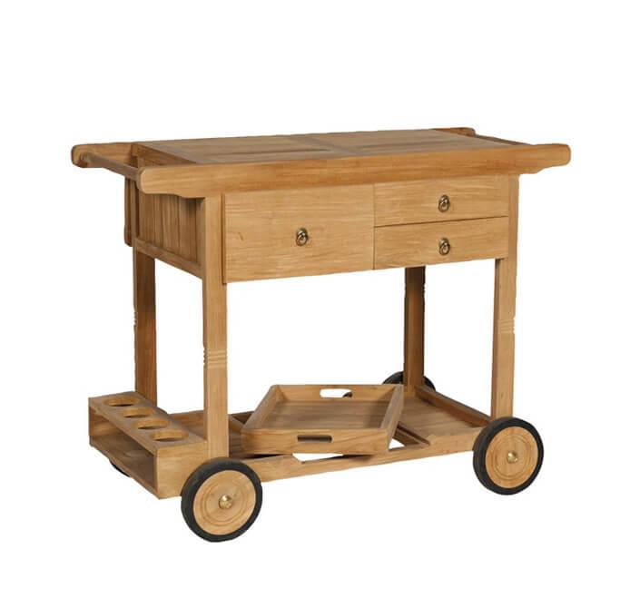 Ogrodowy stolik do serwowania na kółkach